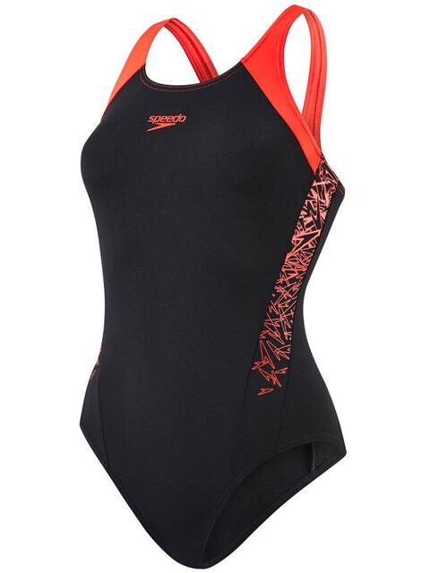 speedo Boom Splice Muscleback Swimsuit Women, black/lava red